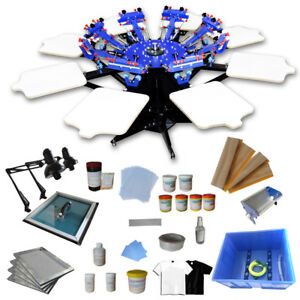 8 Color 8 Station T Shirt Screen Printing Kit Complete Machine With Material Ink