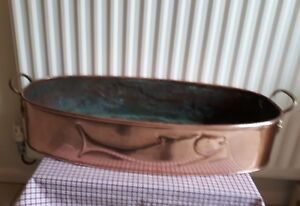 Larg Vintage Copper Brass Handel Pan Planter Fish Kettle