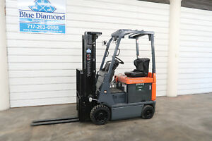 2013 Toyota 7fbcu15 3 000 Electric Forklift 3 Stage S s 1 760 Hours