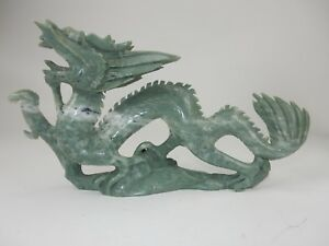 Large Chinese Intricately Carved Jade Hardstone Dragon Statue 15