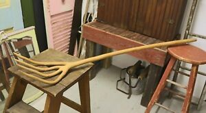 Antique Primitive 55 Long One Piece Wooden Pitch Fork
