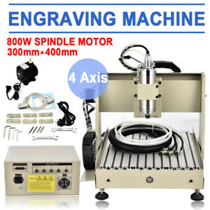 800w Vfd 4 Axis 3040t Cnc Router Engraving Machine Engraver Desktop Wood Carving