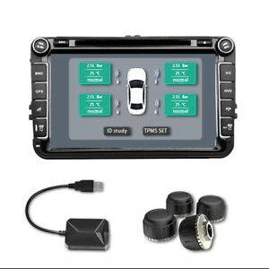 Tpms Tire Pressure Lcd Monitor Wireless 4external Tyre Sensors Cap For Player wt