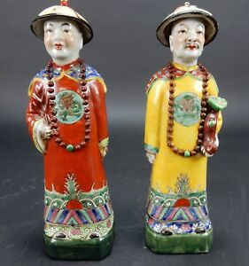 Pair Of Antique Chinese Famille Rose Statue 11 Inches Circa 1900 Mark