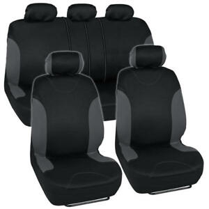Premium Rome 2 Tone Charcoal Black Full Car Seat Cover Set Fits Honda Civic