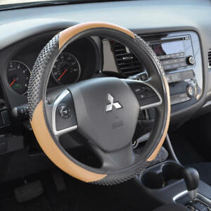 Beige 100 Odorless Synthetic Leather Steering Wheel Cover Fits Toyota Corolla