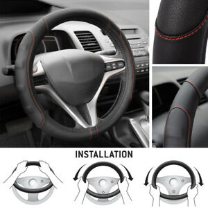 Motor Trend Pu Leather Steering Wheel Cover Fits Honda Civic 2007 2012 Red