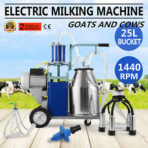 25l Electric Milking Machine For Goats Cows W bucket Cattle Vacuum Pump