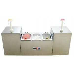 Condiment Station Dispensor With Two Pumps Three Wells