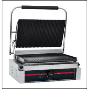 Value Series Pg2gg 120 12 x17 Grooved Panini Grill 14 x9 Cooking Surface