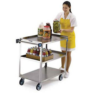 Lakeside 444 Stainless Steel Utility Cart 500 Lb Capacity 21 wx35 d Shelves