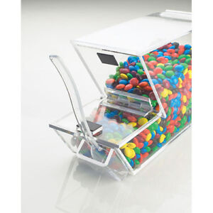 Ice Cream Toppings Bulk Bin Acrylic W magnetic Lid And External Spoon Holder
