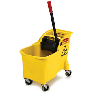 Rubbermaid Fg738000yel 31 Qt Compact Mop Bucket With Wringer Yellow
