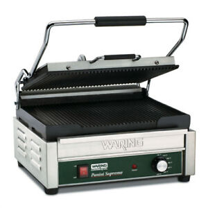 Panini Grill Cast Iron 14 1 2 wx11 d Cooking Surface Ribbed Plates