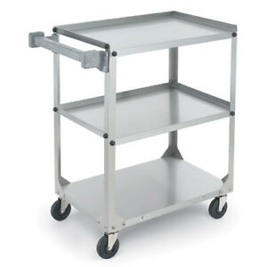 Stainless Steel Utility Cart Medium Duty 400 Lb Capacity Ships Knocked Down