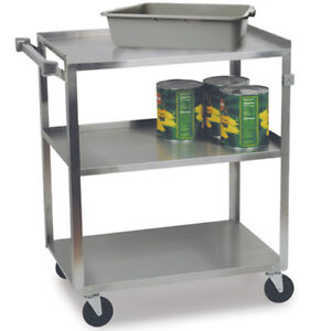 Stainless Steel Utility Cart 300 Lbs Capacity 18 3 8 wx30 3 4 dx33 h