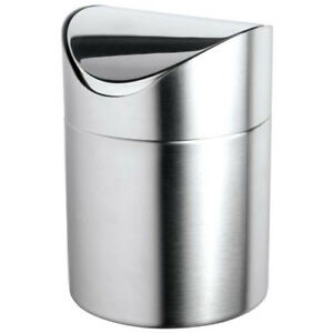Stainless Steel Tabletop Waste Bin 4 3 4 diam x6 5 8 h