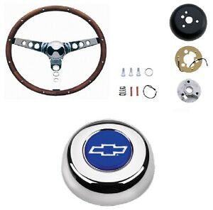 Grant 13 5 Wood Steering Wheel installation Kit bowtie Horn Button For Chevy Ii