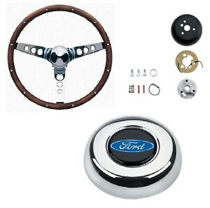 Grant 13 5 Wood Steering Wheel installation Kit blue Oval Horn Button For F 100
