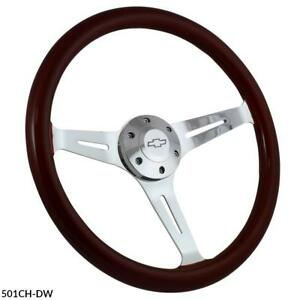 15 Steering Wheel Kit Wood Billet Chevy Horn For Aftermarket Gm Columns