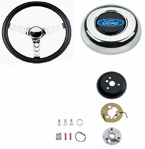Grant Classic Steering Wheel installation Kit blue Oval Horn Button For Fairlane