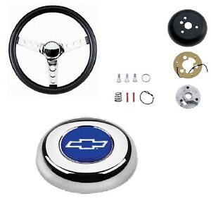 Grant Classic Steering Wheel installation Kit blue Bowtie Horn Button For Impala