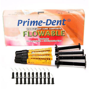 Prime dent Light Cure Flowable Composite All Shade 4 X 2gm Syringe 20 Tips Fda