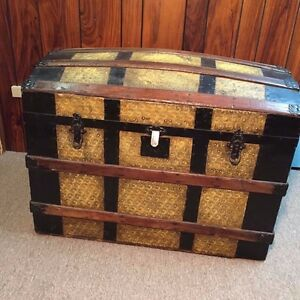 Antique Steamer Trunk Dome Top Wood Slat Barnard Brothers Chest Tin Sided