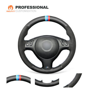 Diy Black Leather Suede Steering Wheel Cover For Bmw E46 E39 540i 330i 525i M3