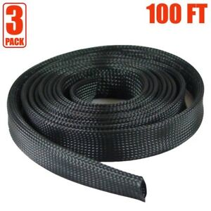 3x 100ft 2 Expandable Braided Cable Sleeve Wrap Wire Harnessing Sheathing Black