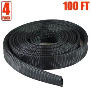 4x 100ft 1 Expandable Braided Cable Sleeve Wrap Wire Harnessing Sheathing Black
