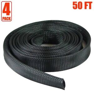 4x 50ft 2 Expandable Braided Cable Sleeve Wrap Wire Harnessing Sheathing Black