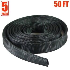 5x 50ft 2 Expandable Braided Cable Sleeve Wrap Wire Harnessing Sheathing Black