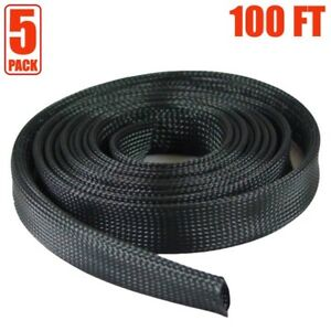 5x 100ft 2 Expandable Braided Cable Sleeve Wrap Wire Harnessing Sheathing Black