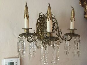 Pair Of Vintage French Bronze Crystal Sconces With 3 Arms Antique 18th Cent