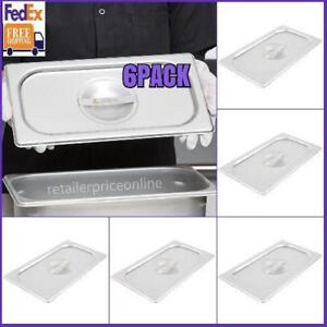 6 Pack 1 3 Size Solid Stainless Steel Steam Table Hotel Pan Cover Us Fedex