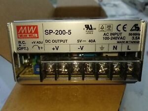 Mean Well Sp 200 5 Ac To Dc Power Supply Single Output 5 Volt 40 Amp 200 Watt