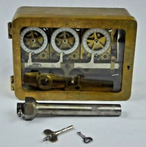Antique Sargent And Greenleaf Bronze Case Timelock Bank Vault Safe W Keys Bolt