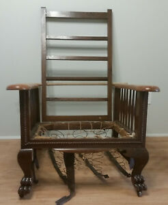 Morris Recliner Chair Frame Mission Arts Crafts W Springs Claw Feet Spindles