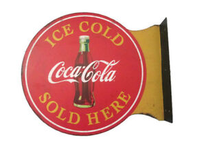 Coca-Cola Sold Here Tin Flange Sign Disc- BRAND NEW