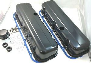 Black Bbc Big Block Chevy Tall Style Valve Cover Kit W Gaskets 396 427 454 502