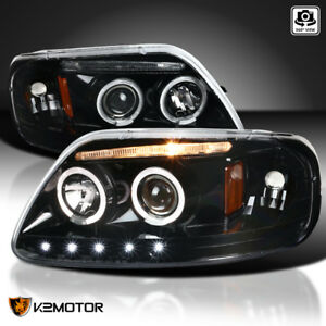 Fits 1997 2003 Ford F150 Jet Black Led Drl Strip Halo Projector Headlights Lamps