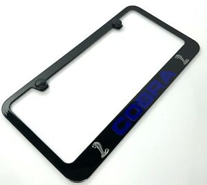 Cobra License Plate Frame For Shelby Gt500 Gt350 Ford Mustang black Blue