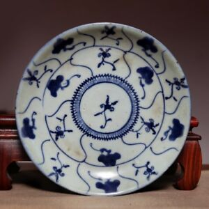 Rare Chinese Qing Dynasty Kangxi Old Plate Blue And White Porcelain Dish Hx75