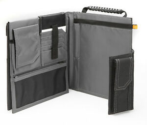Toughbuilt Organizer Grid Notebook Heavy Duty Pocket Cover Black Hand Strap