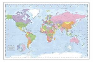 Political World Map Poster Miller Projection