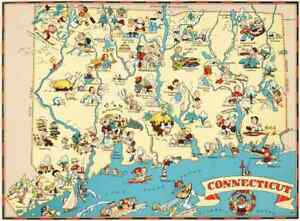 Canvas Reproduction Vintage Pictorial Map Of Connecticut Print Ruth Taylor 1935