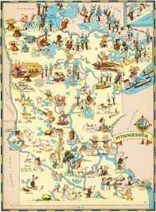 Canvas Reproduction Vintage Pictorial Map Of Minnesota Print Ruth Taylor 1935