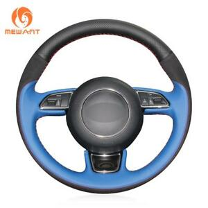 Blue Genuine Leather Black Suede Steering Wheel Cover Wrap For Audi A1 A3 A5 A7