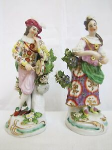 Antique French Porcelain Young Man Woman Figurines